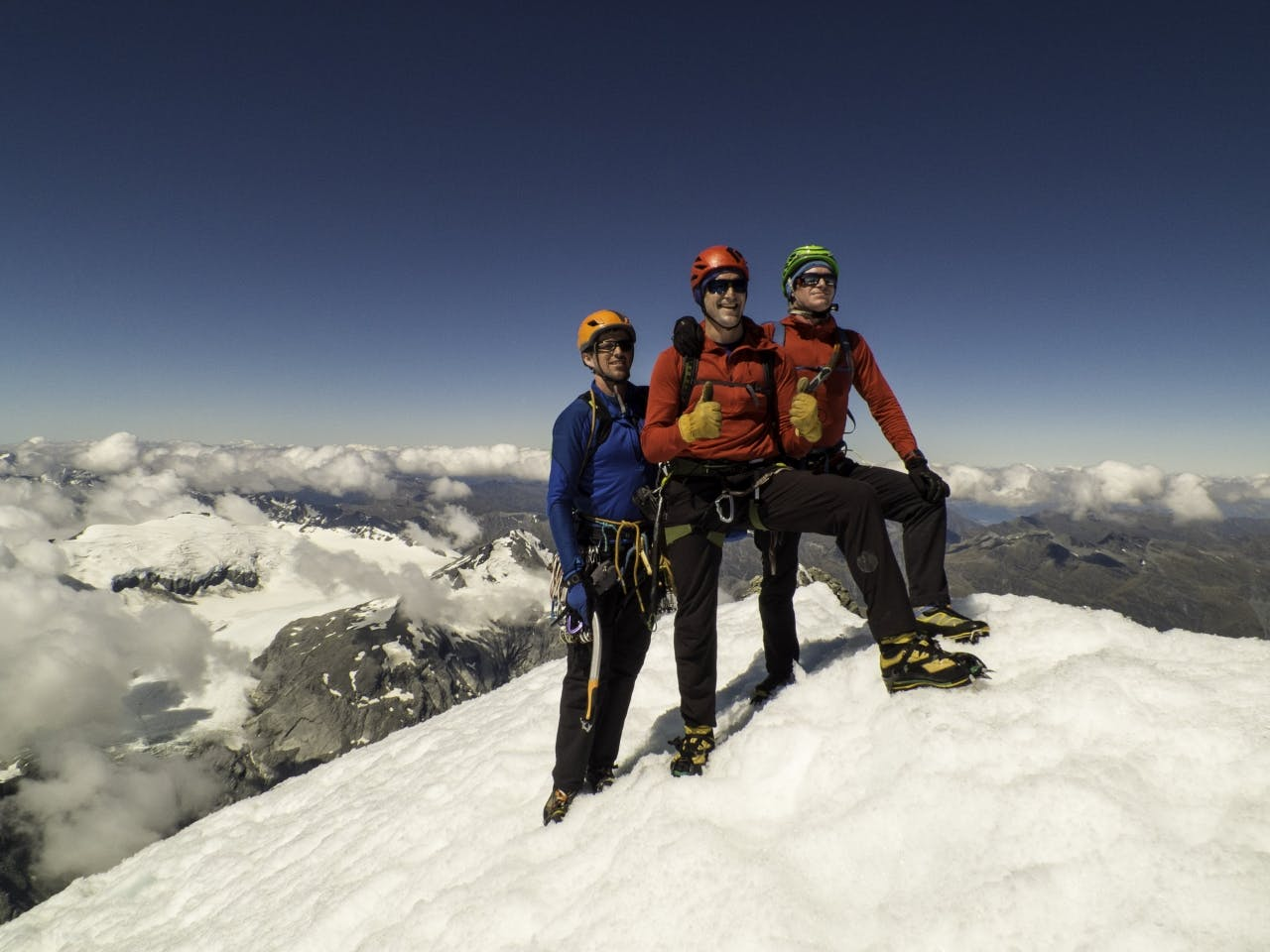 Danny Murphy, Steve Skelton and Ben Dare on the summit of Mt Aspiring. Photo: Pete Harris