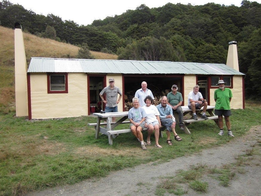 Volunteers from Nelson Tramping Club after a hard day's work at Flora Hut. Photo: Ian Morris