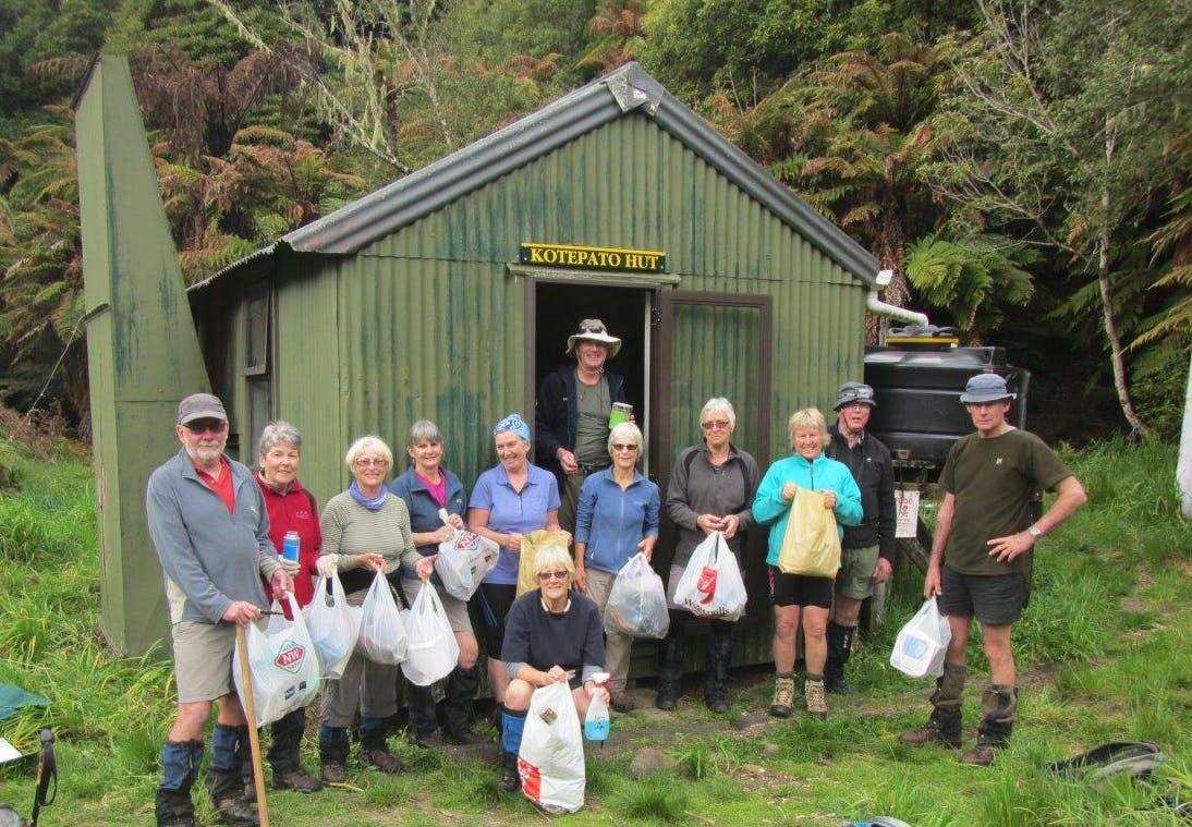 The team outside Kotepato Hut after the big clean-up. Photo: Supplied