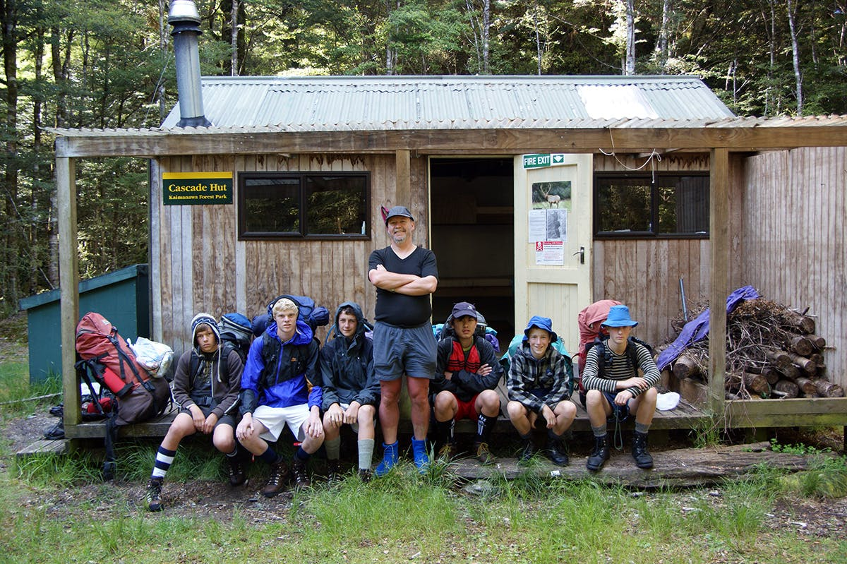 The author leads a school group to Cascade Hut, Kaimanawa Forest Park. Photo: Ray Salisbury