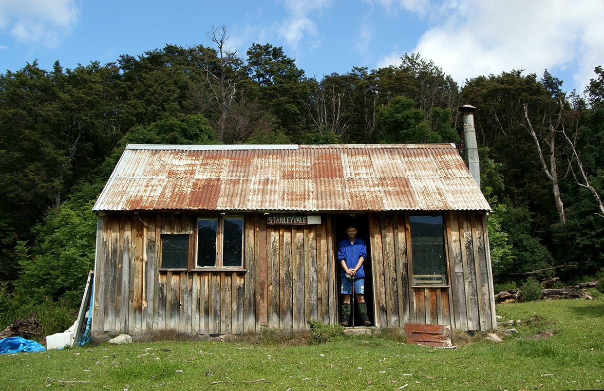 Bagging the rustic hut at Stanley Vale, a stone's throw from Lake Guyon and the Waiau River. Photo: Ray Salisbury
