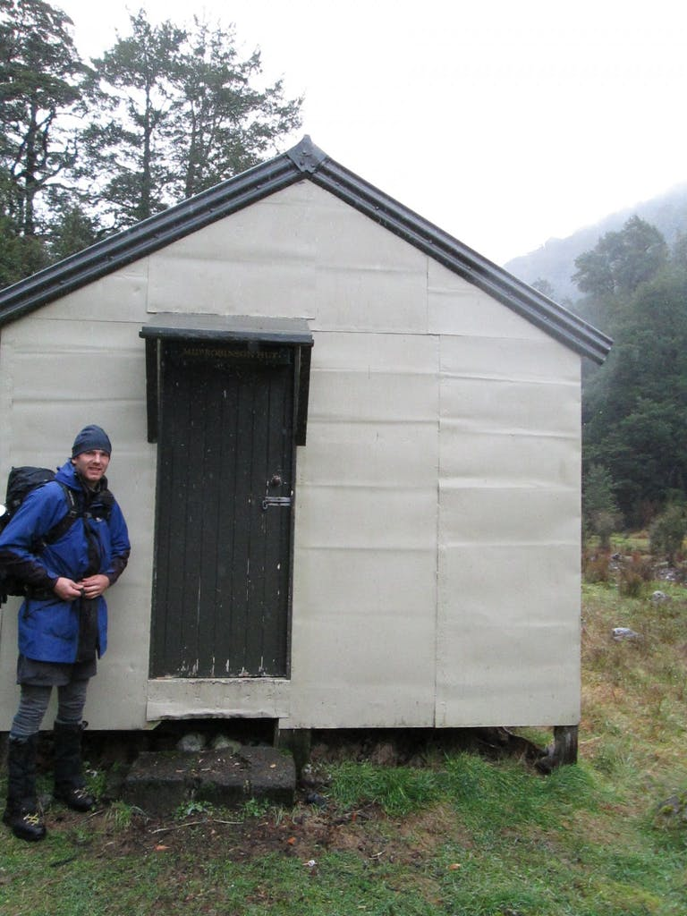 The author outside Mid Robinson Hut