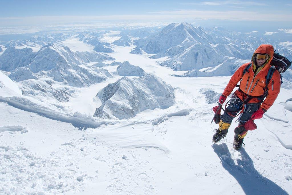 Brad Jackson on the summit ridge of Denali. Photo: Jon Griffiths
