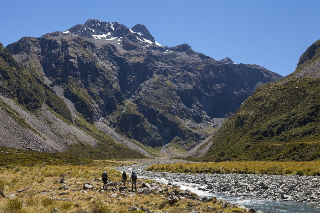 Trampers in the Upper Waimakariri below Carrington Peak. Photo supplied