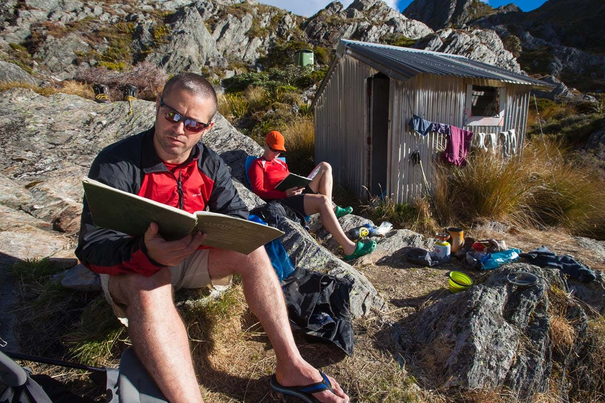 Relaxing at Adelaide Tarn Hut