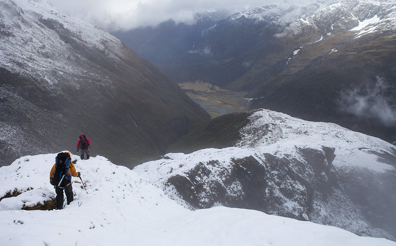 Descending French Ridge in fresh snow. Photo: Mark Watson