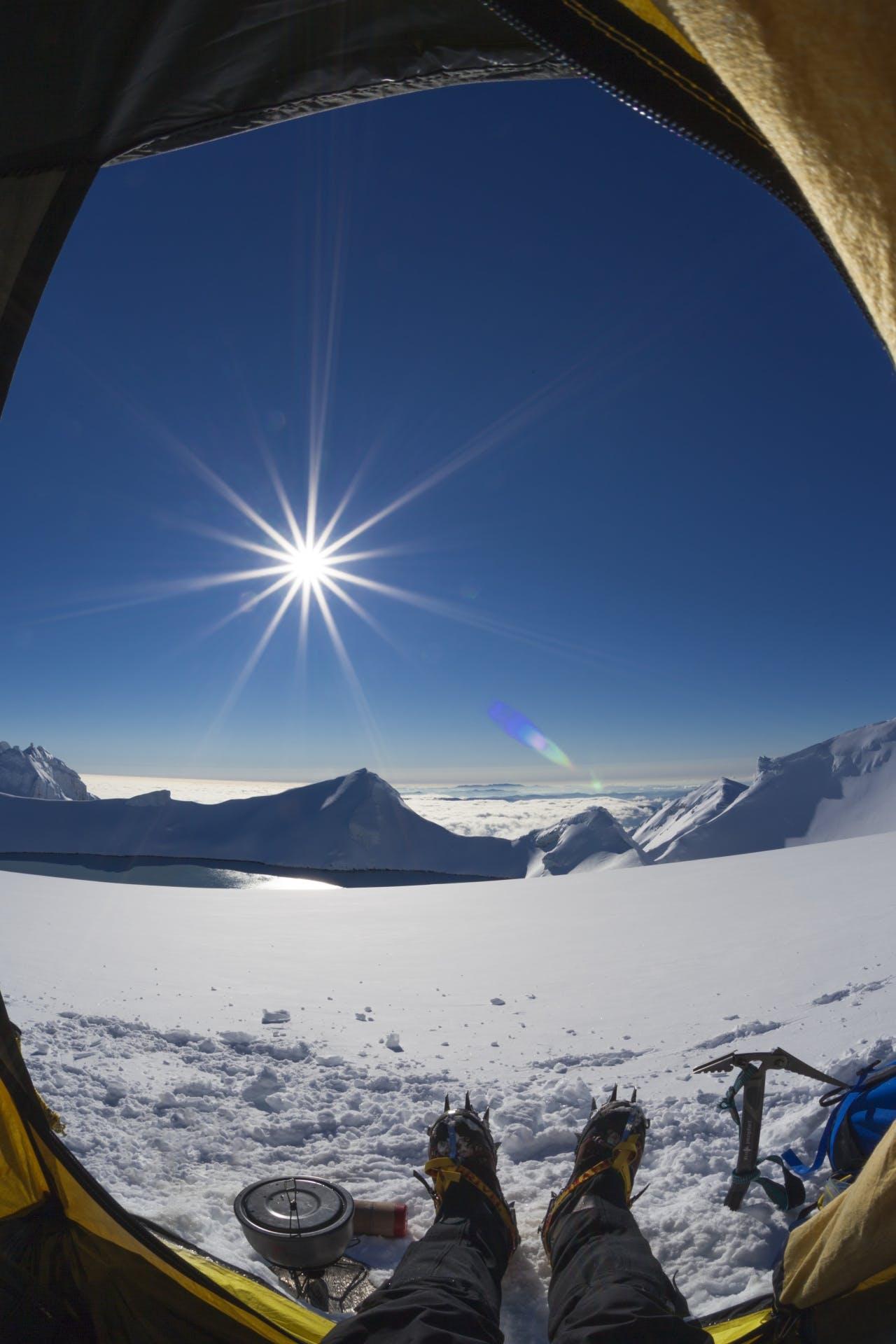 Tent camp near Crater Lake, summit plateau of Mt Ruapehu