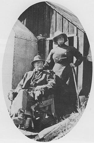 Henry and Annie Chaffey outside their cottage. Photo: Supplied