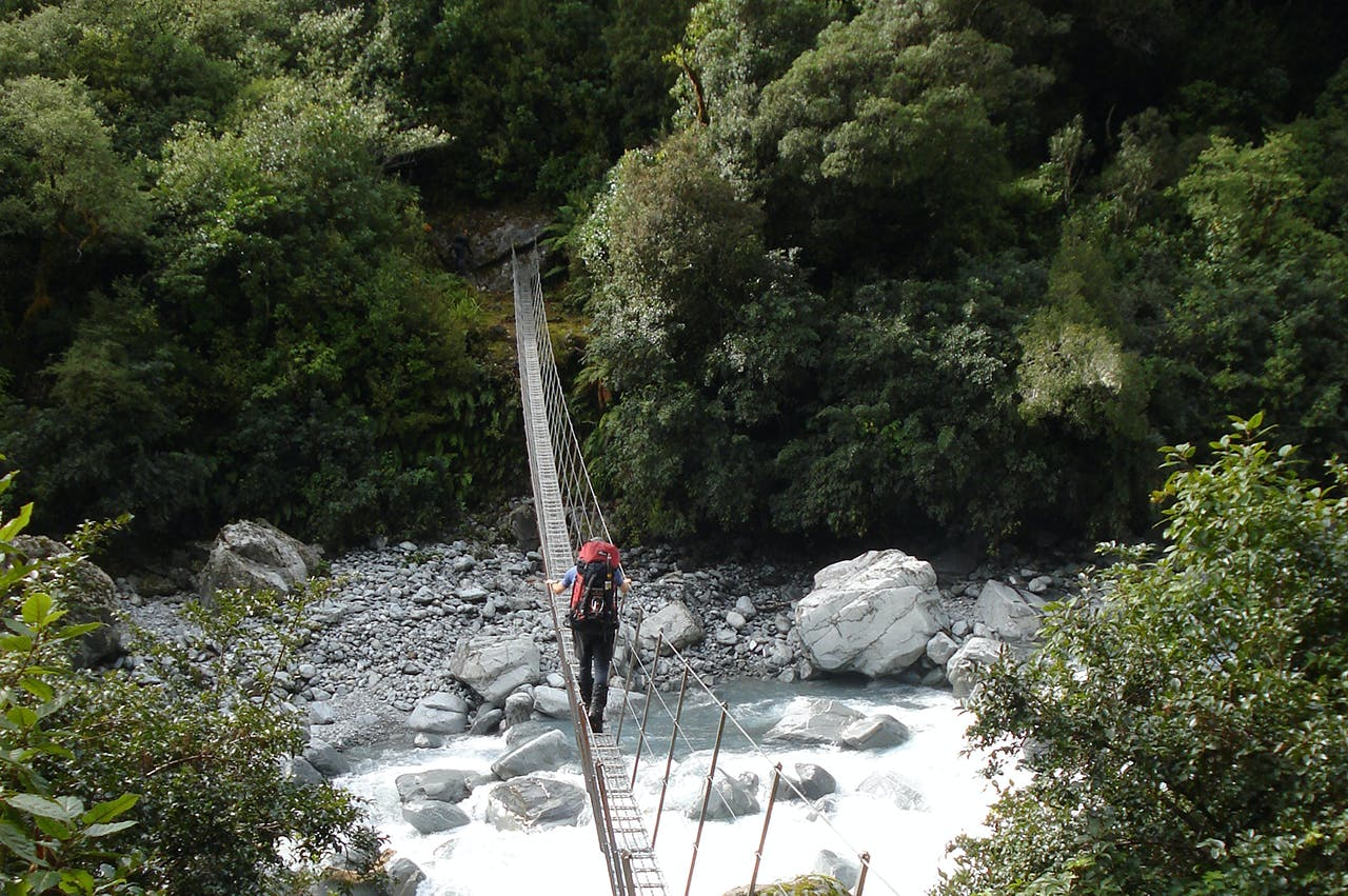 Crossing the swingbridge over Scone Creek. Photo: Nick Ross