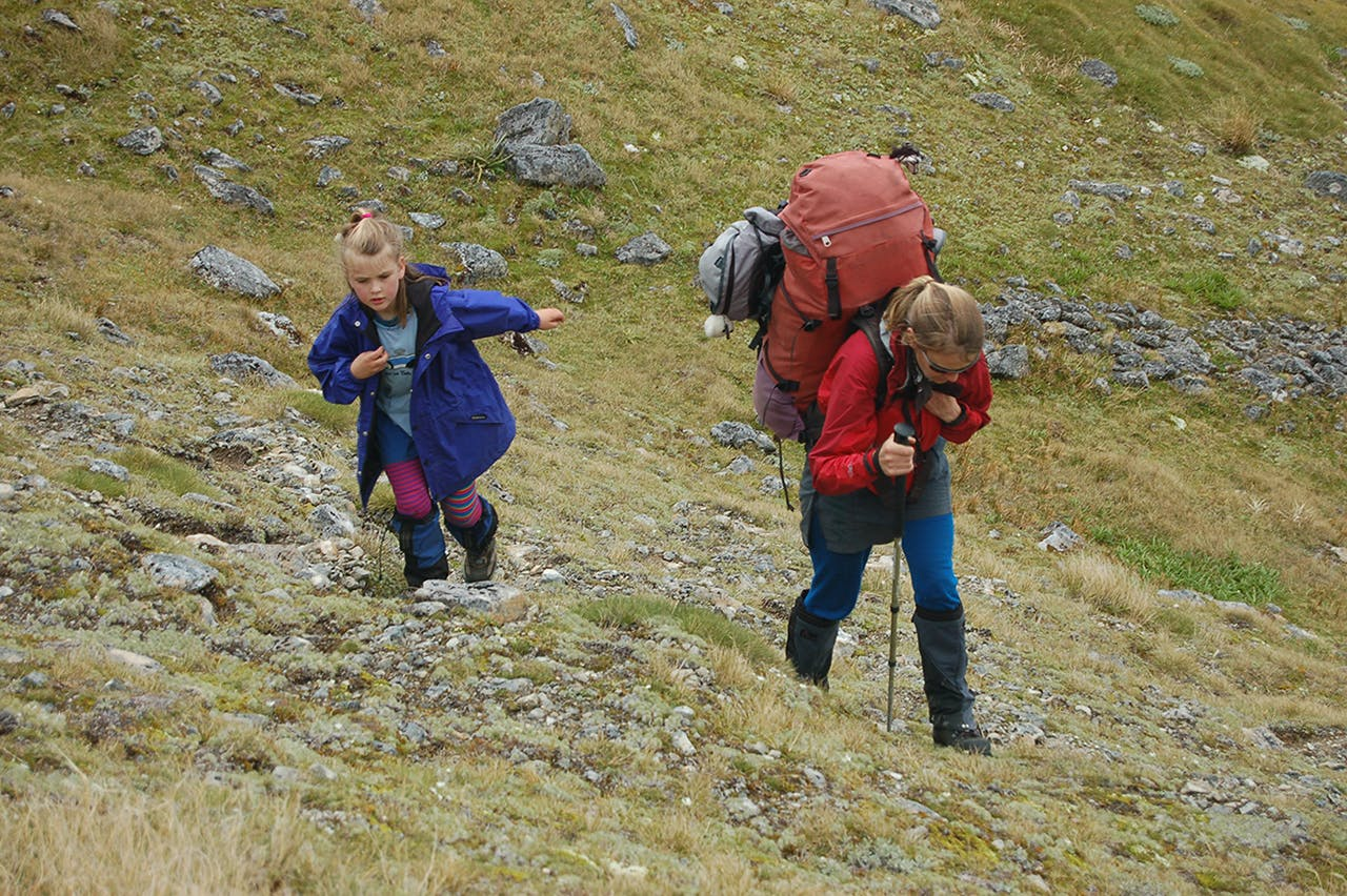 Heavy loads are a reality of tramping with young children. Photo: David Norton