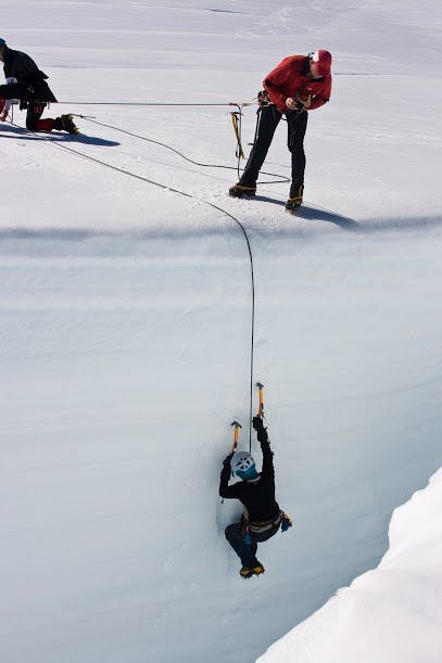 Participants in alpine courses learn how to extract themselves from a crevasse. Photo: Dan Slater