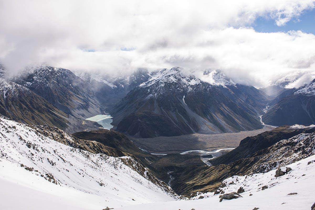 View from Butler Saddle to Rakaia River and Ramsay Glacier lake. Photo: Pat Barrett