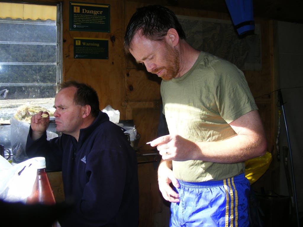 Ross and Barry Flamank at Makarora Hut
