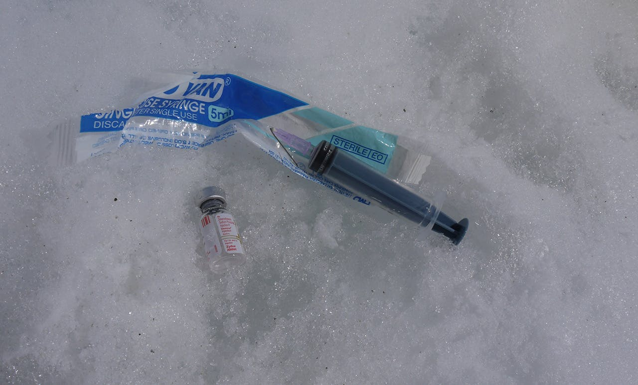 A discarded dose of dexamethasone found just above Camp 3 on Mt Everest. Photo: www.adventureconsultants.com