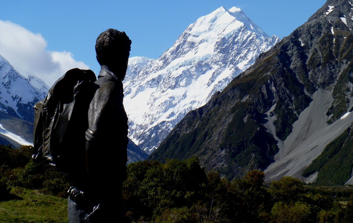 The statue of Ed Hillary at Mt Cook Village gazes towards the ridge on Aoraki named after him in 2011. Photo: Jane Morris