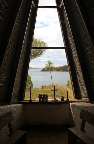 The view towards Aramoana from the island's chapel. Photo supplied