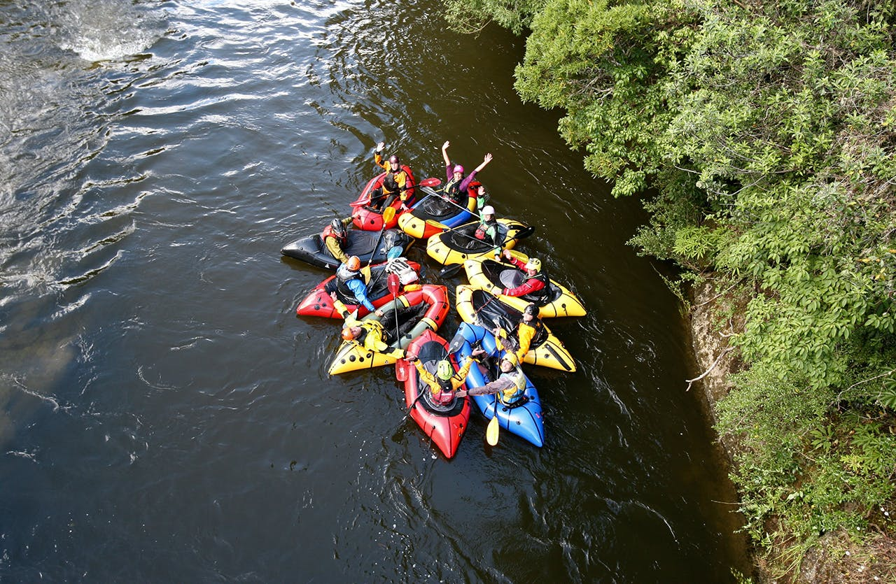 Packrafters congregated on rivers around Murchison for the first Meetup held in January 2016. Photo: Janine Martig