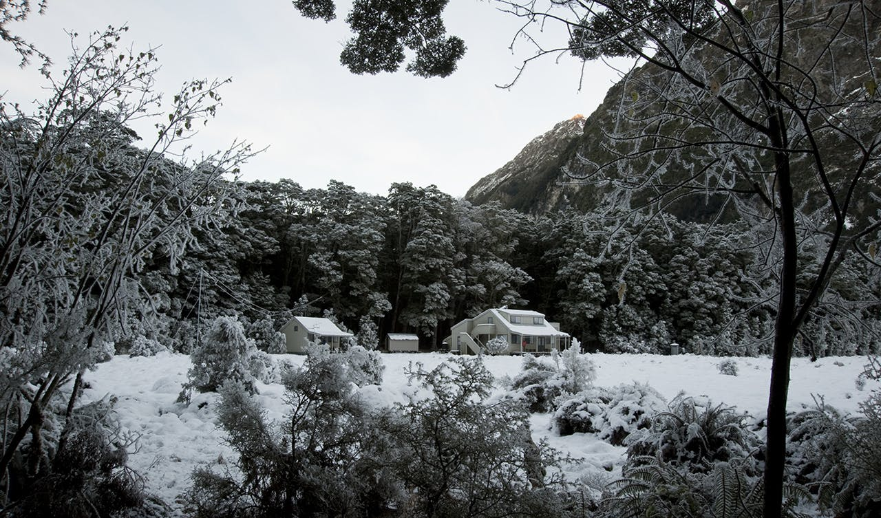 Hoar frost and snow at Iris Burn Hut. Photo: Shaun Barnett/Black Robin Photography