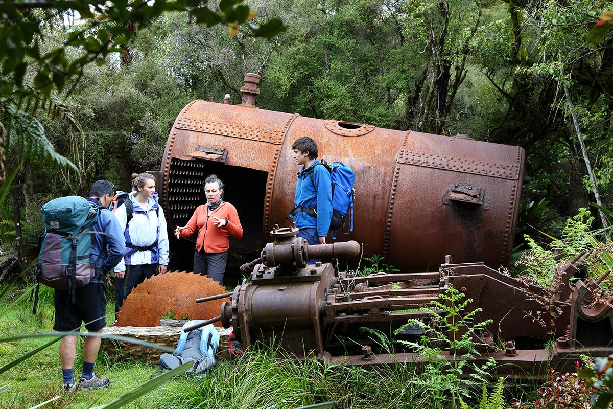 A dilapidated boiler reminds walkers of Rakiura's boom and bust past. Photo: Venture Southland