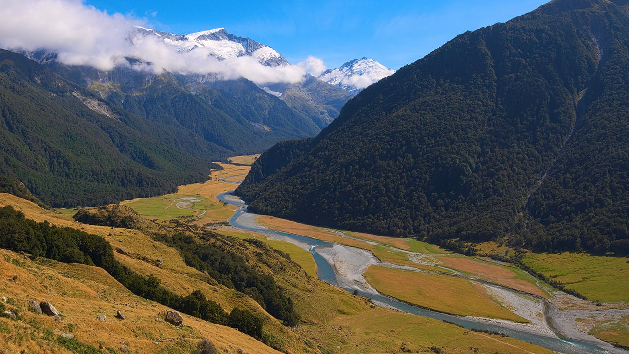 Hike the magnificent west branch of the Mtukituki Valley to the solitude of Liverpool Hut. Photo: Tomas Sobek Photography