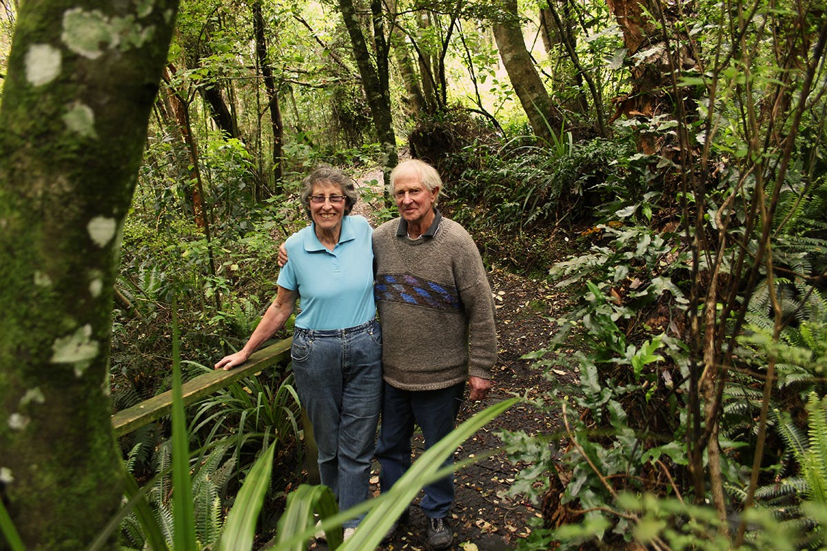 Brian and Jan O'Callaghan still enjoy multi-day tramps, but their favourite patch of bush is just up the road from their Kaka Point home. Photo: Edith Leigh