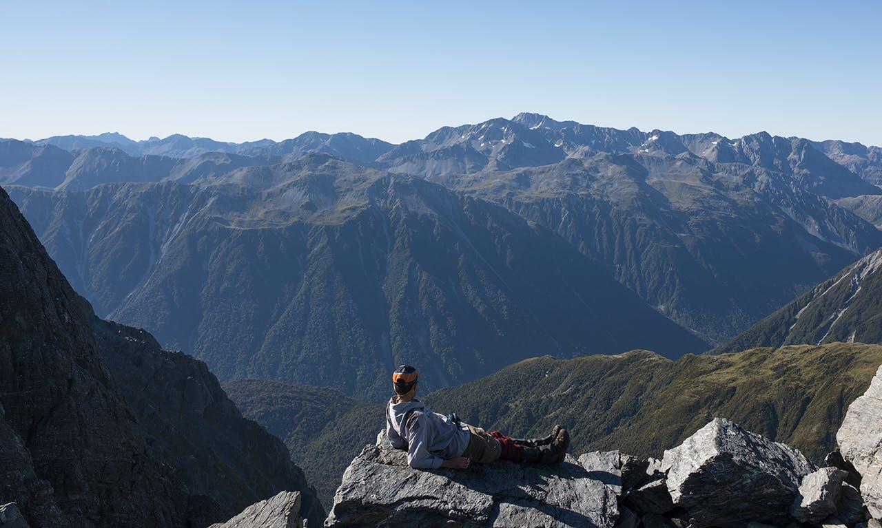 Resting on summit ridge of Tara Tama. Photo: Pat Barrett