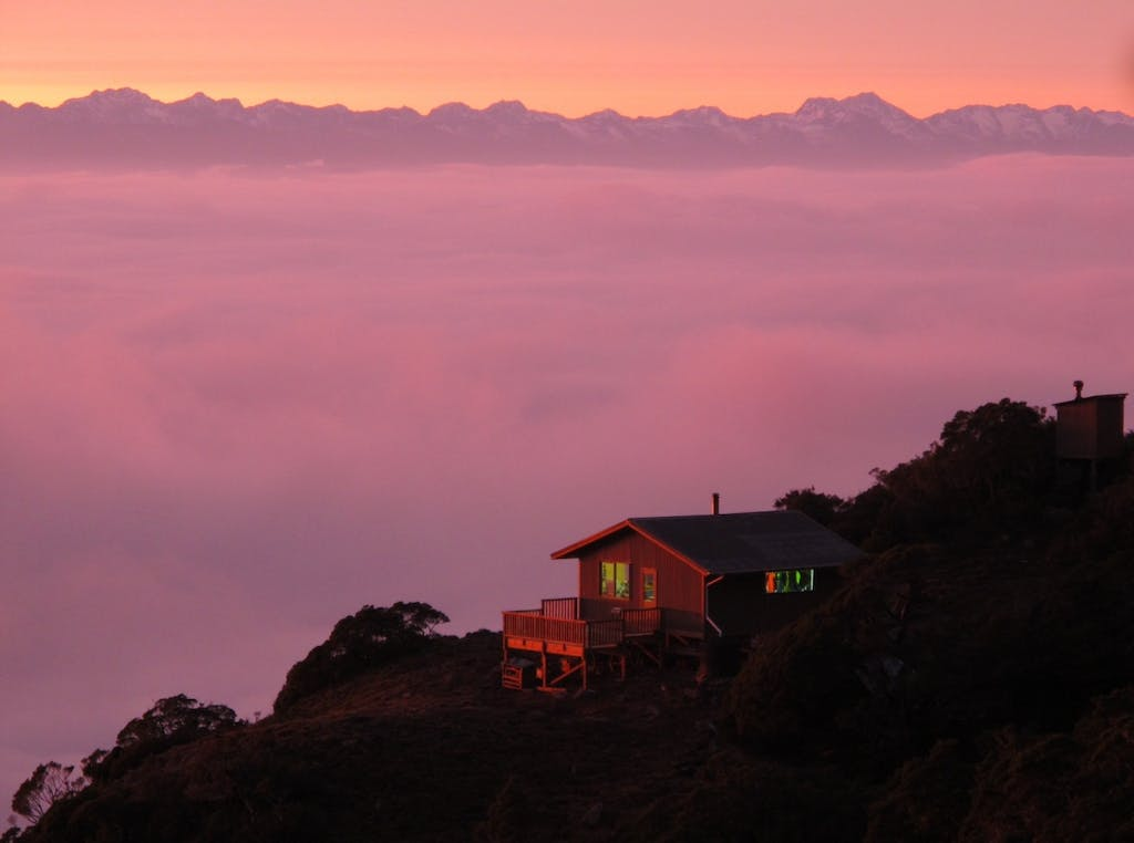 Sunrise at Ghost Lake Hut. Photo: Richard Rossiter