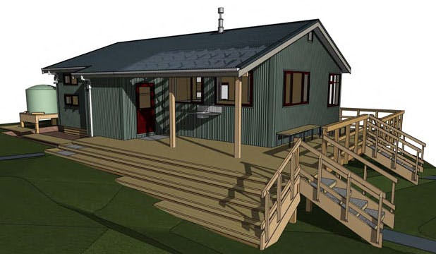 An artist's impression of the soon to be completed Pahautea Hut. Photo: DOC
