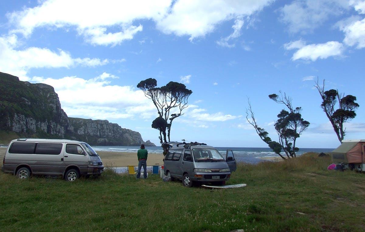 Purakaunui Bay campground overlooks the beach and the child-safe Purakaunui River. Photo: Supplied