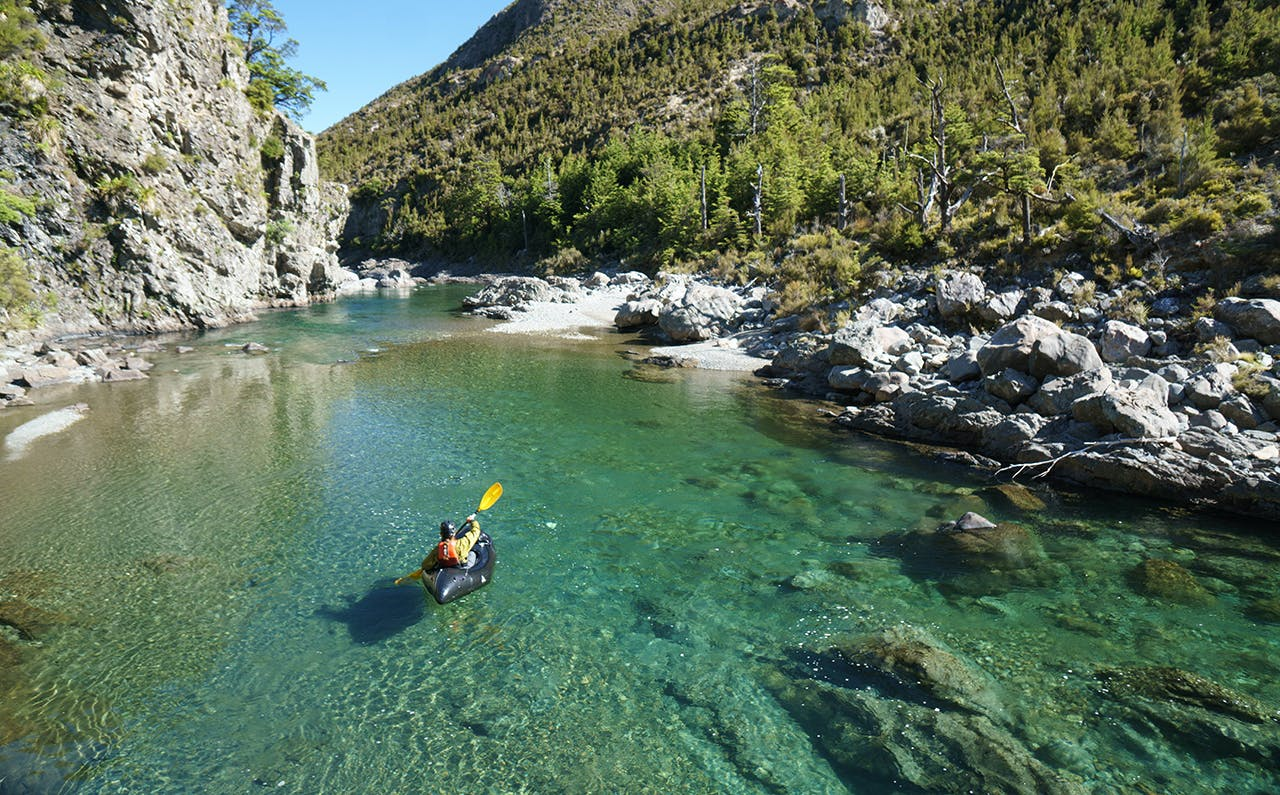 Packrafting a remote stretch of the Rangitikei River. Photo: Thor Tingey