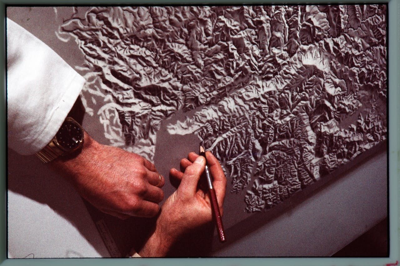 Relief shading, from the days when everything was done by hand. Photo: Supplied