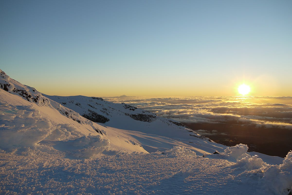 Views from the summit of Ruapehu stretch all the way to Mt Taranaki. Photo: Alistair Hall