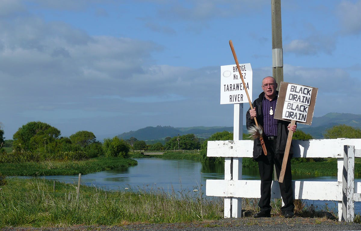 Ngati Rangitihi iwi member Tipene Marr has long protested the polluting effects of the Kawerau mills. Photo: Josh Gale