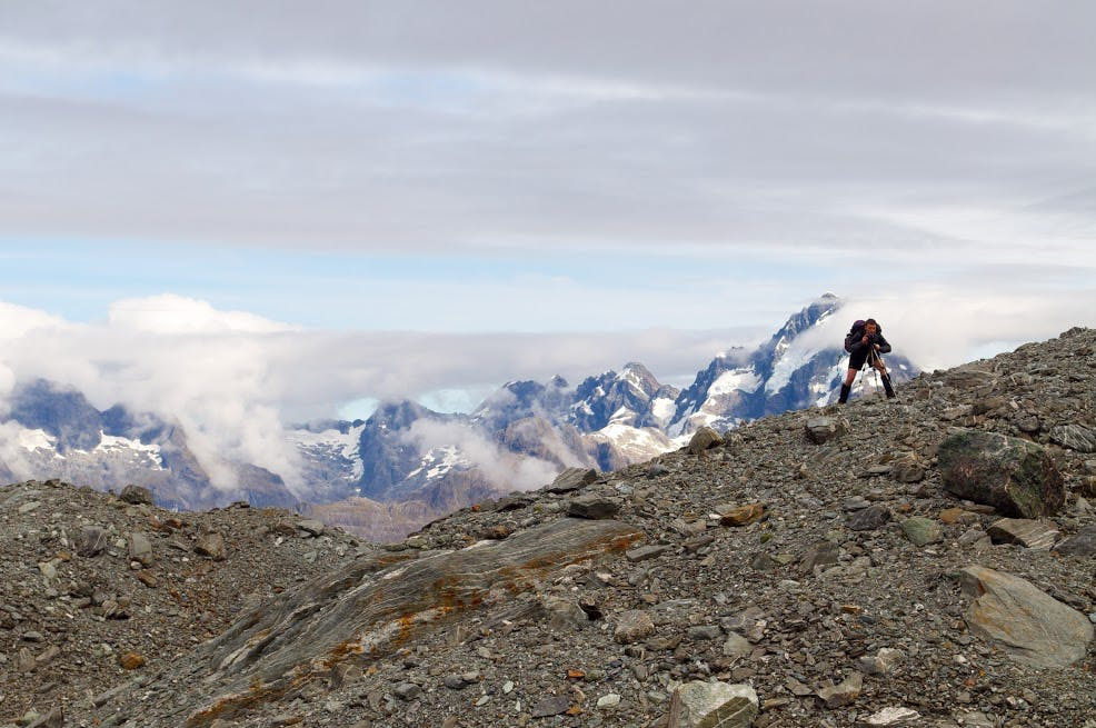 Park Pass Glacier moraine field with the Darran Mountains in the background. Photo: Carl Walrond