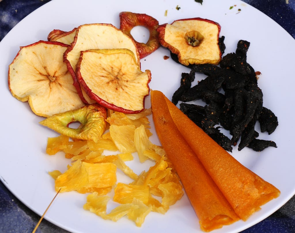 Dehyrated tinned pineapple pieces, sliced apple, venison jerky and peach fruit leather. Photo: Nik Leigh
