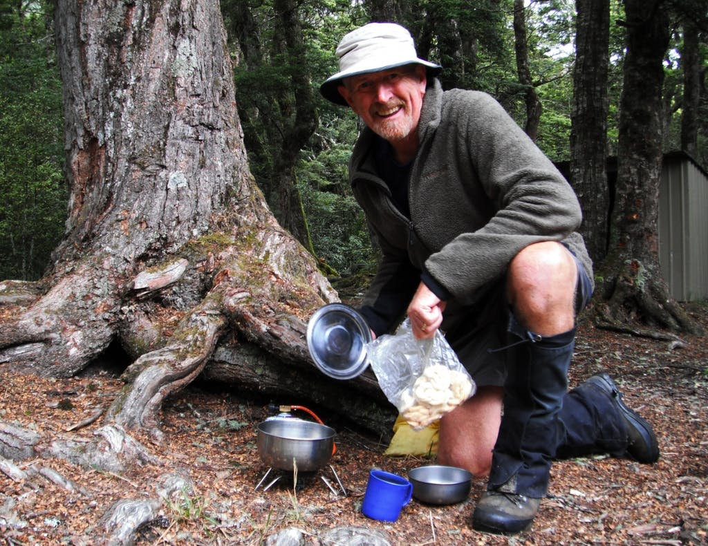 Paul Garland cooking up a storm on the trail.