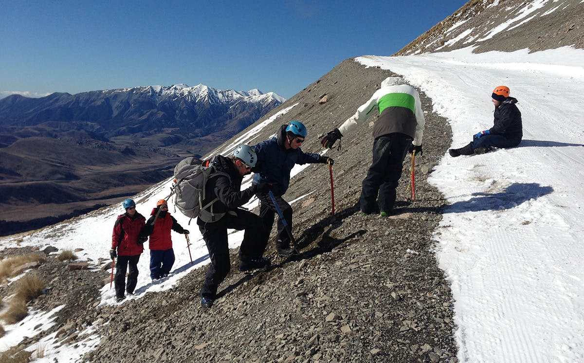 The group reaching the ridge on the slopes of Mt Cheeseman