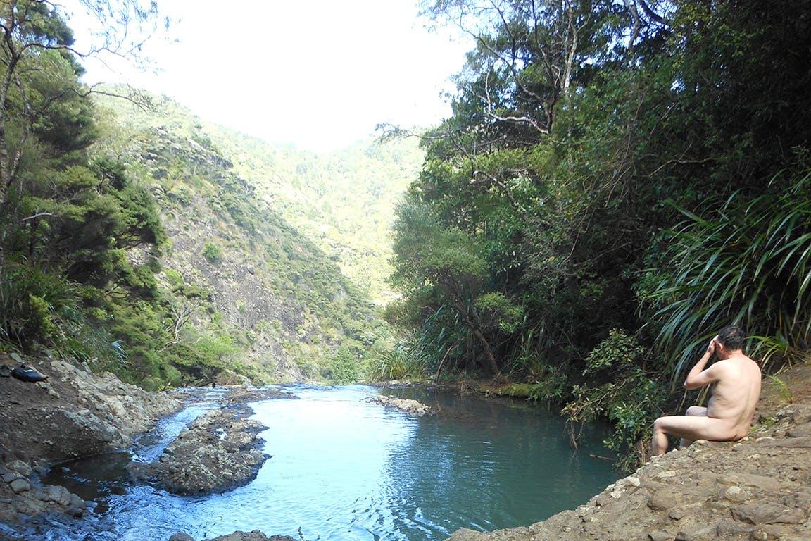 The naked tramper at Kitakita Falls. Photo: Josh Gale