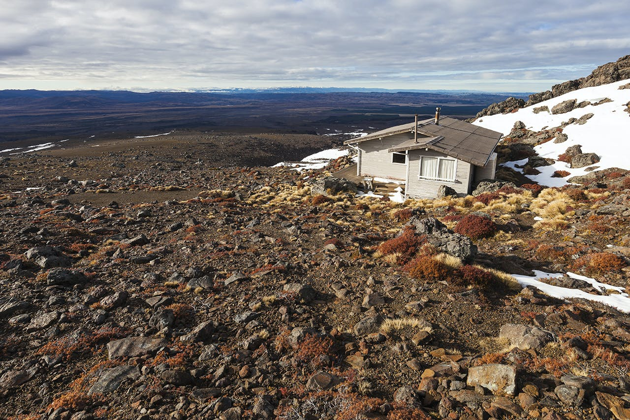 Rangipo Hut overlooks a desert landscape. Photo: Mark Watson