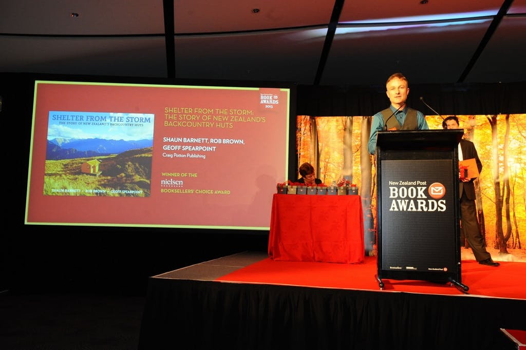 Shaun Barnett accepted the Booksellers Choice Award on behalf of his co-authors