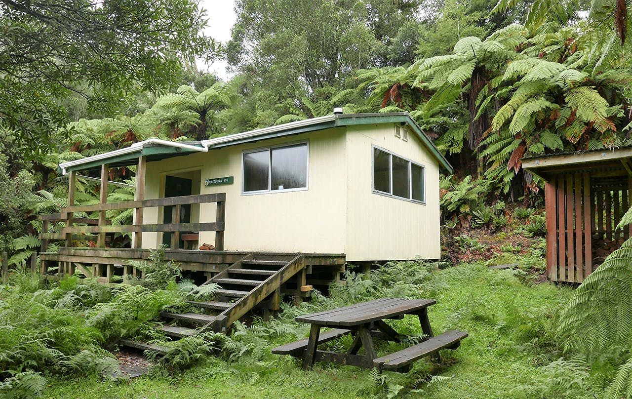 Just an hour from the busy river is Puketotara Hut. Photo: Kathy Ombler