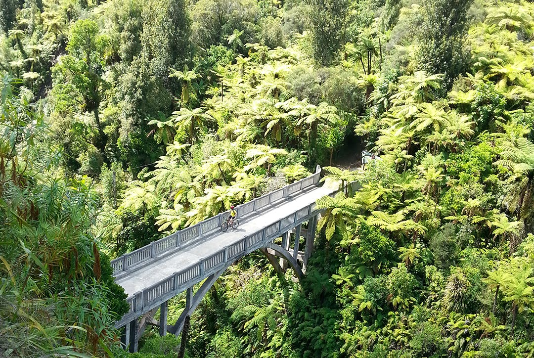 The Bridge to Nowhere is a classic 42km ride ending with a jet boat ride to the road end. Photo : Kathy Ombler