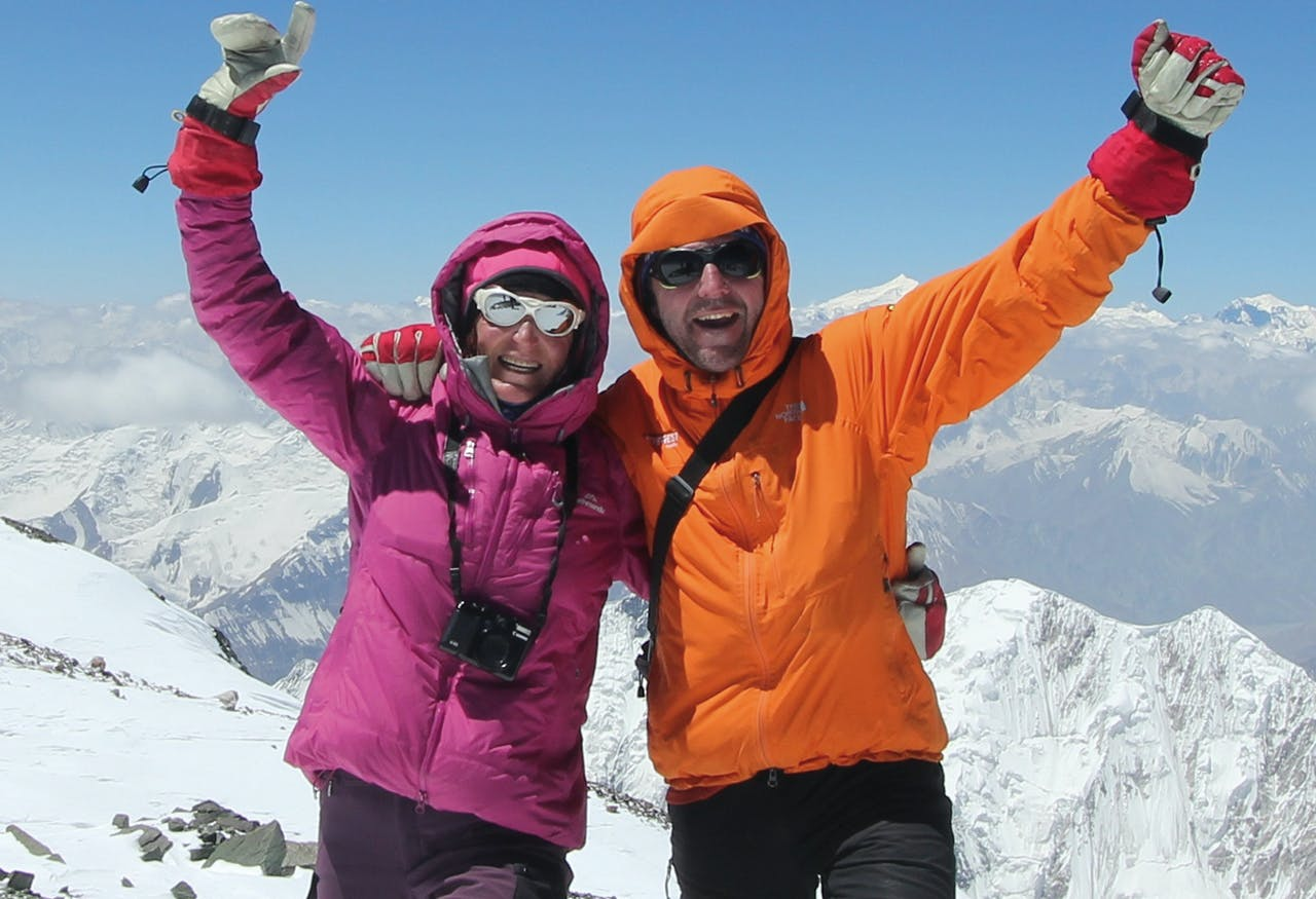 Lydia Bradey's accomplishments were questioned by men, but she says she wouldn't be an international mountain guide were it not for the support of male peers like her partner Dean Sharples. Photo: Supplied
