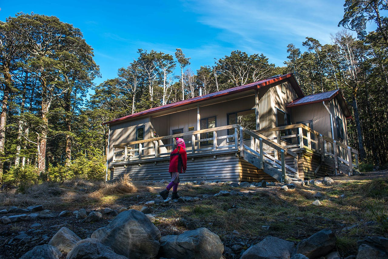 Hawdon Hut sleeps 20 and is within easy reach of the road end for little legs. Photo: Pat Barrett