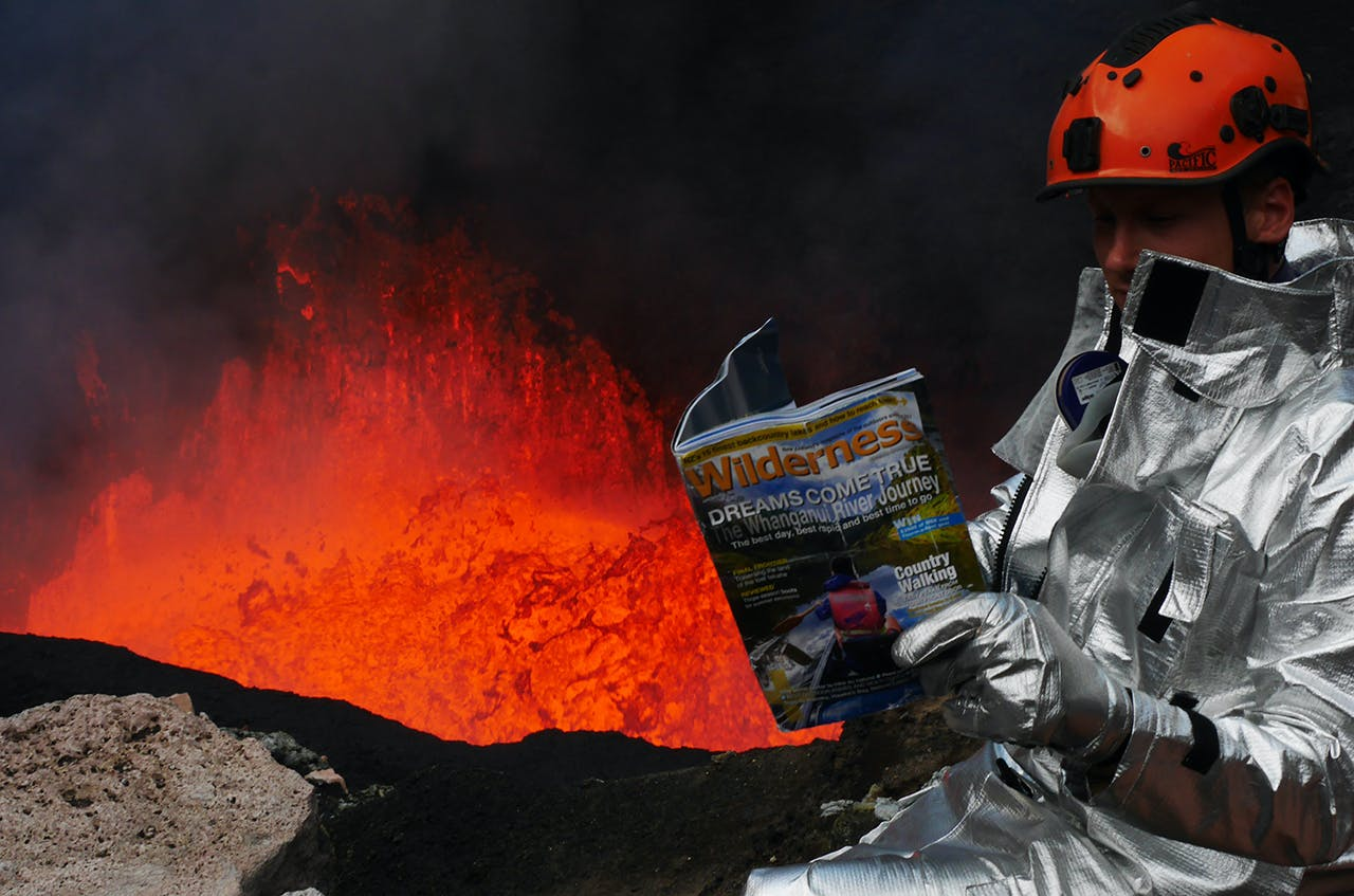 Why wouldn't you read Wilderness on the rim of a volcano? Photo: Brody Radford
