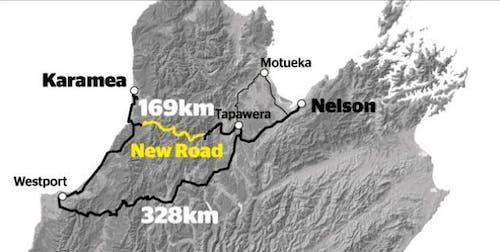 The road would cut the trip from Karamea to Nelson from328km to 169km.