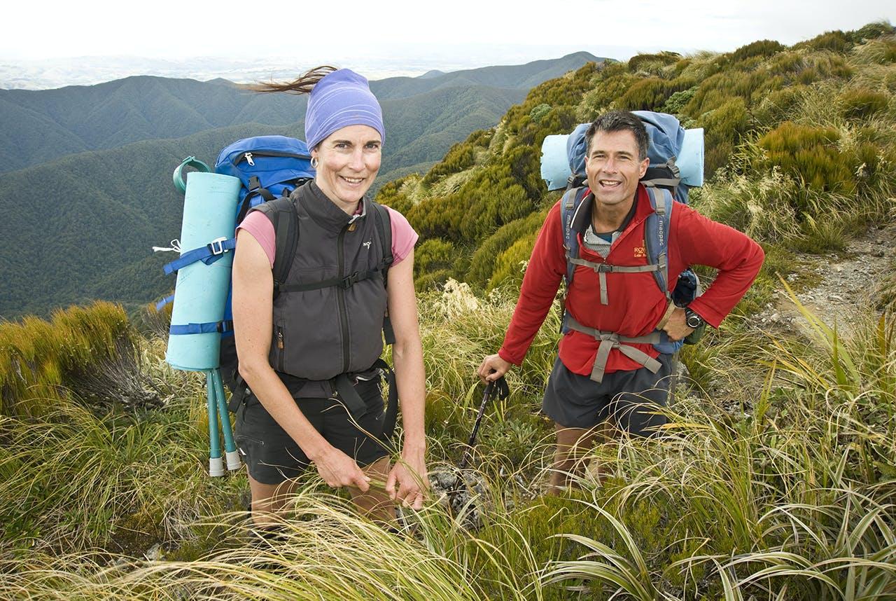Heather and Joe before the mist closed in on Waingawa. Photo: Shaun Barnett/Black Robin Photography
