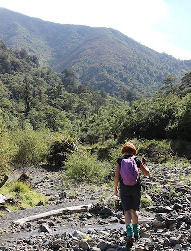 Negotiating the dry Tamaki River. Photo: Nina Sawicki