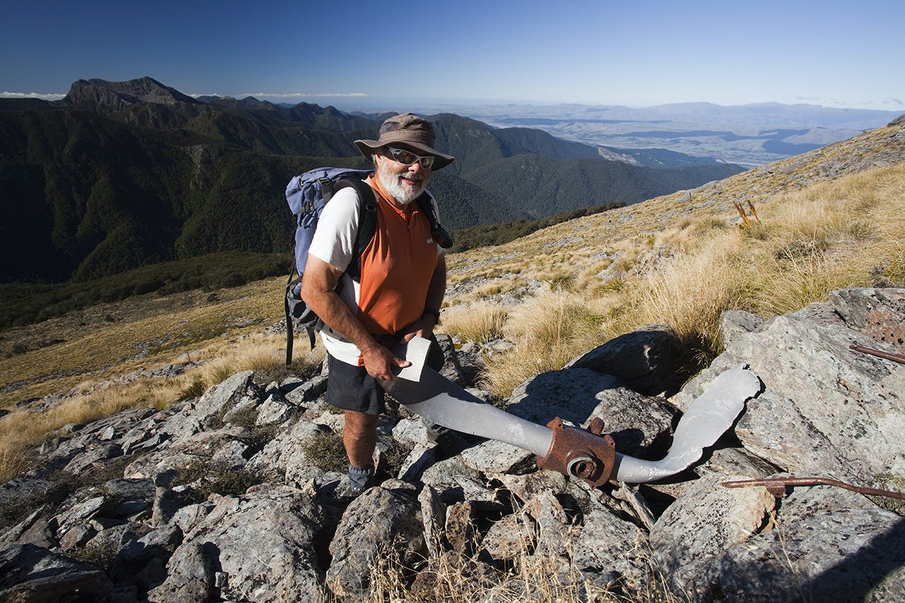 A mangled propellor form the Kereru, found on the flanks of Mt Johnston. Photo: Ray Salisbury