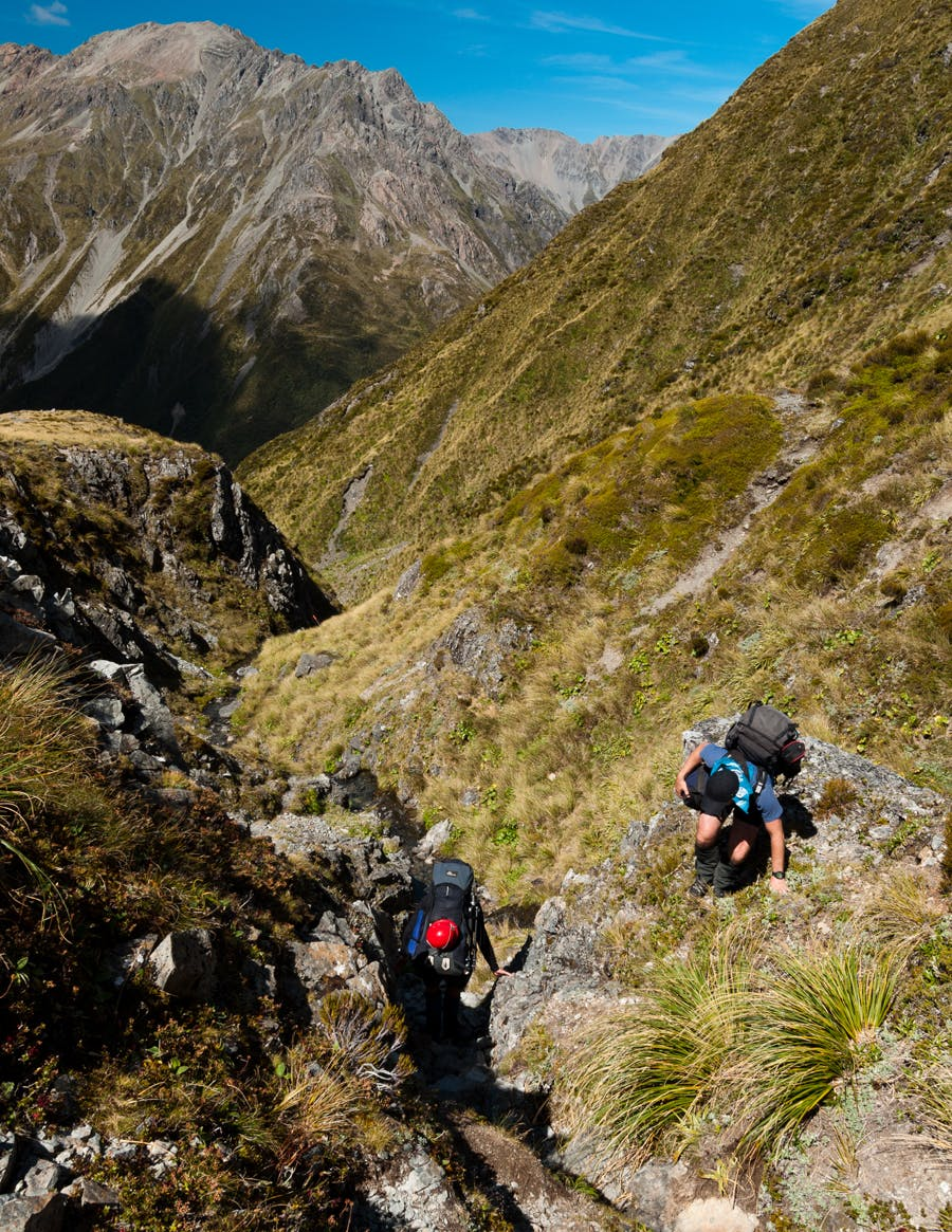 Descending the narrowing gorge to the East Branch of the Otehake from Tarn Col. Photo: Fraser Crichton